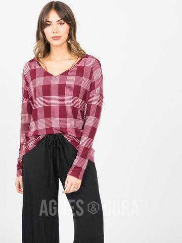 Agnes & Dora™ Urban Pullover V-Neck Burgundy Glen Plaid