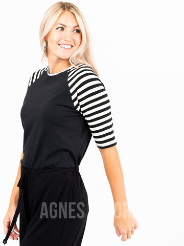 Agnes & Dora™ Raglan Top Black with Black/Ivory Stripe  ONESIE SALE