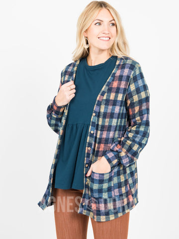Agnes & Dora™ Blouson Essential Cardigan Navy Checkered
