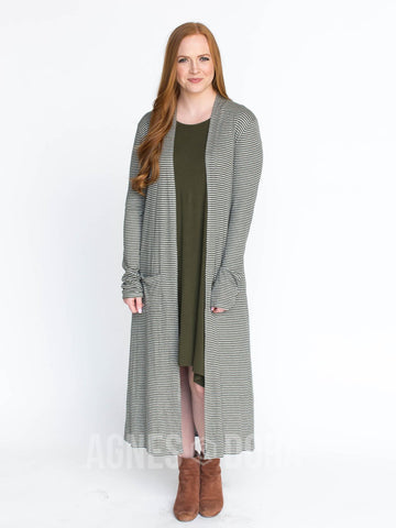 Agnes & Dora™ Duster Ribbed Olive and Heather Grey Stripe  ONESIE SALE
