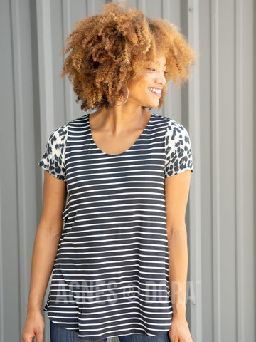 Agnes & Dora™ Everyday Tee Contrast Black Ivory Stripe/Animal Print