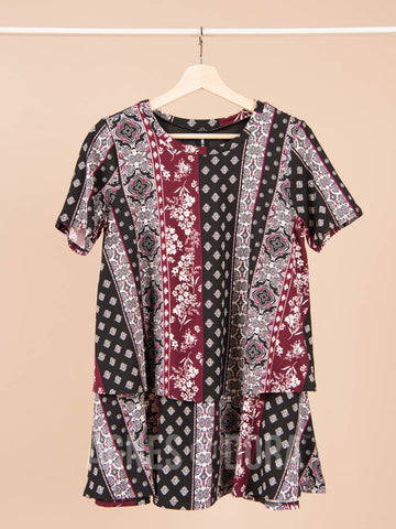 Agnes & Dora™ Tiered Tunic Half Sleeve Black Rose Boho Stripe