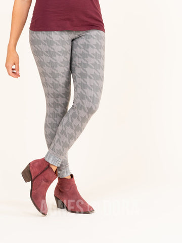 Agnes & Dora™ Knit Jegging Houndstooth Tonal Gray (reinforced elastic waistband) ONESIE SALE