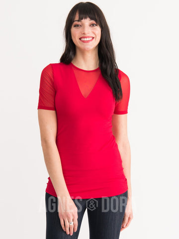 Agnes & Dora™ Sheer V-Neck Tee Cherry