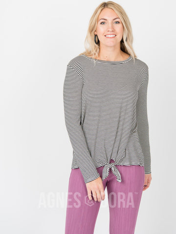 Agnes & Dora™ Tie Front Top Long Sleeve Black Ivory Stripe