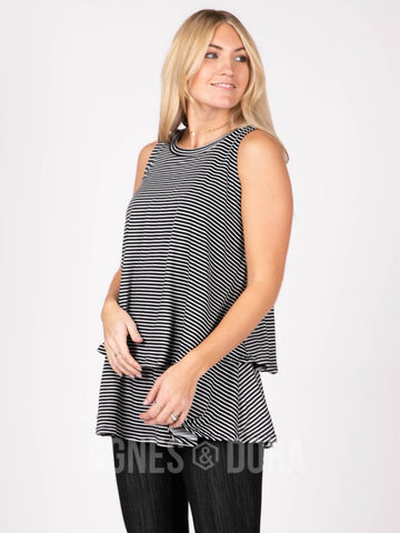 Agnes & Dora™ Tiered Tunic Black/Ivory Stripe ONESIE SALE