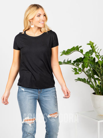 Agnes & Dora™ Cut Out Neckline Tee Black