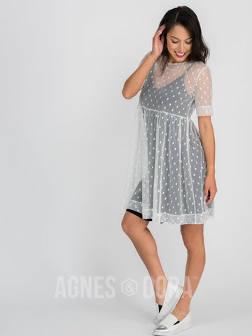 Agnes & Dora™ Short Mesh Easy Dress White Dot ONESIE SALE