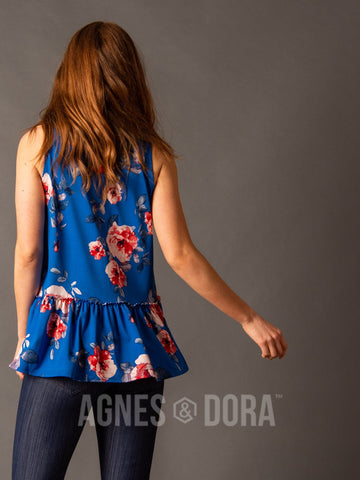 Agnes & Dora™ Relaxed Ruffle Tank Blue/Red Floral  ONESIE SALE