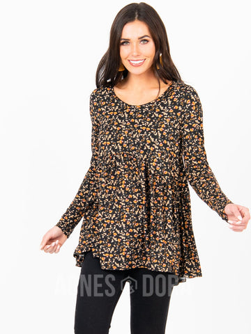 Agnes & Dora™ Muse Top Long Sleeve Black/Coral Fan Floral