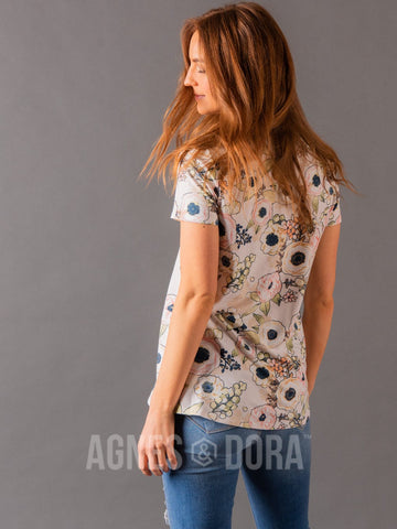 Agnes & Dora™ Fitted Tee Ivory/Blush Floral