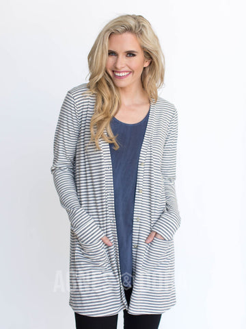Agnes & Dora™ Favorite Cardi Ribbed Grey/Ivory/Gold Stripe ONESIE SALE