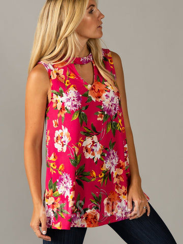 Agnes & Dora™ Swing Tee Cut out Neckline Fuchsia Watercolor Floral