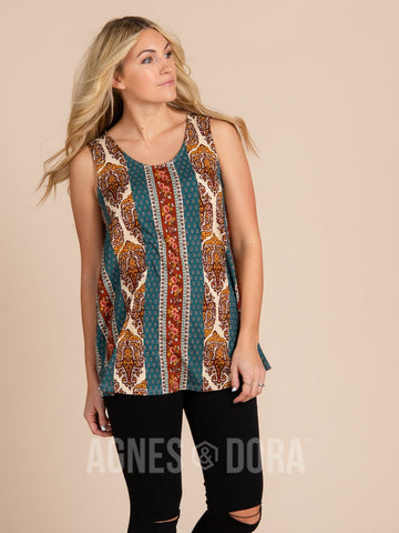 Agnes & Dora™ Essential Tank - Scoop Neck Teal Boho Stripe