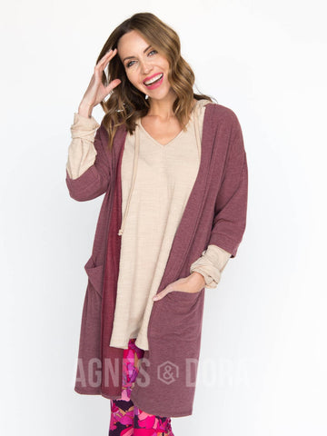 Agnes & Dora™ Forever Cardi Eggplant French Terry