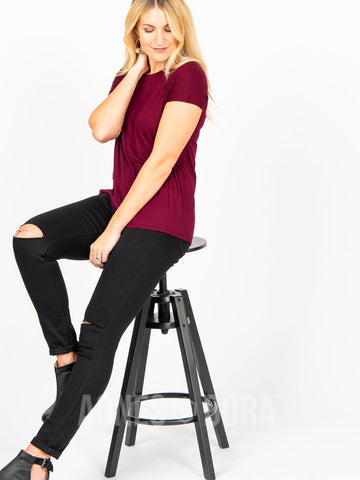 Agnes & Dora™ Cut Out Neckline Tee Dark Wine