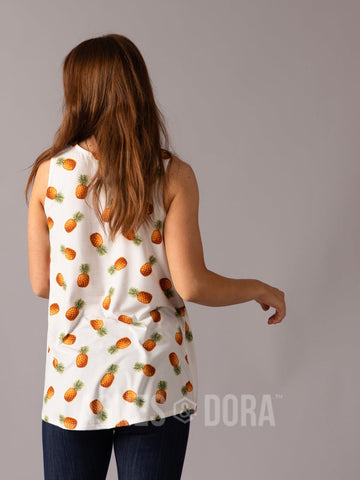 Agnes & Dora™ Essential Tank Scoop Neck Ivory Pineapple ONESIE SALE