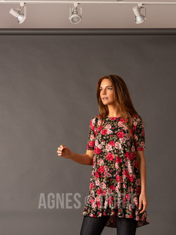 Agnes & Dora™ Ruffle Tunic Perfectly Pink Black