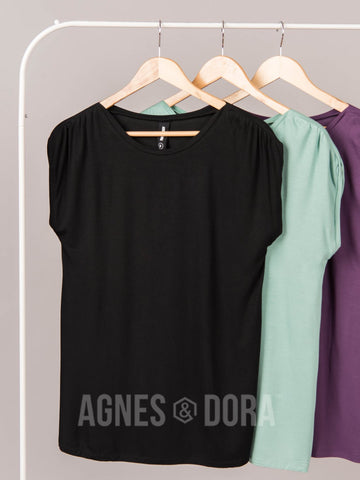 Agnes & Dora™ Gathered Shoulder Top Black