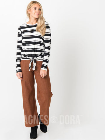 Agnes & Dora™ Tie Front Top Long Sleeve B&W