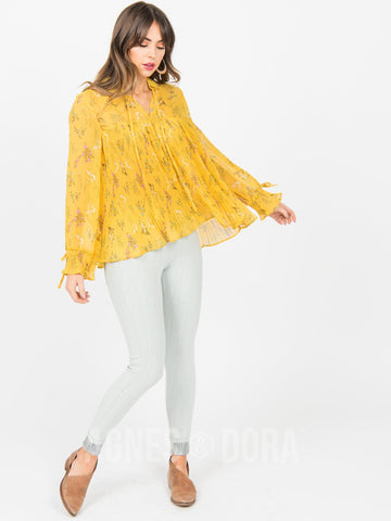 Agnes & Dora™ Pleated Bell Sleeve Top Golden Blossom