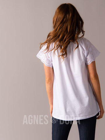 Agnes & Dora™ Eyelet Sleeve Top White