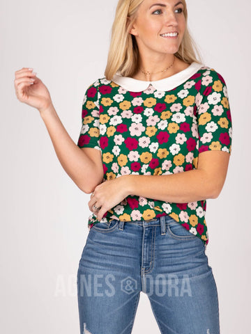Agnes & Dora™ Never Land Tee 70's Floral with White Collar