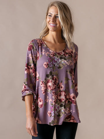 AGNES & DORA™ Everyday Balloon Sleeve Tee Dusty Orchid Floral