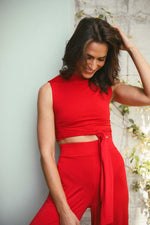Wide Leg Trousers - Scarlet