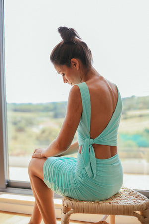 Open Back Crop Top - Mint