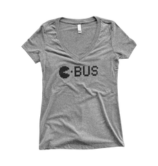 C-BUS PAC-MAN GREY - WOMEN'S V-NECK
