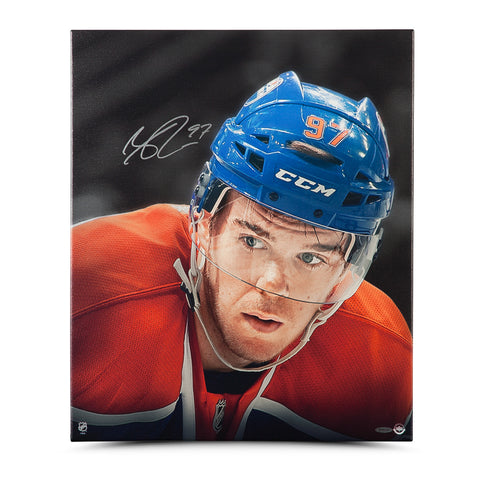 CONNOR MCDAVID SIGNED UP CLOSE & PERSONAL WRAPPED CAVAS 20X24