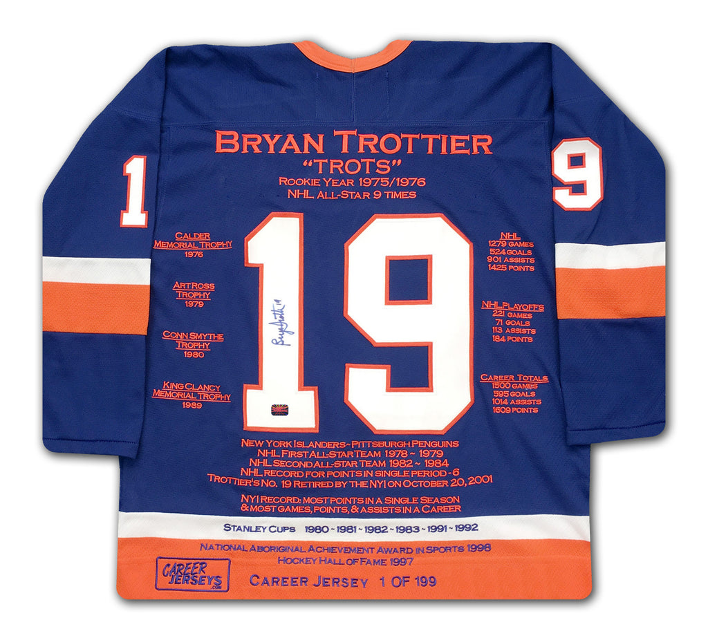Bryan Trottier Career Jersey #1 Of 199 Autographed - New York Islanders, New York Islanders, NHL, Hockey, Autographed, Signed, CJPCH32058