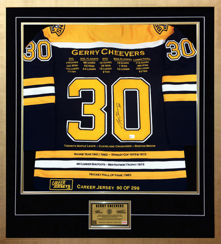 GERRY CHEEVERS FRAMED CAREER JERSEY AUTOGRAPHED - LTD ED 299 - BOSTON BRUINS