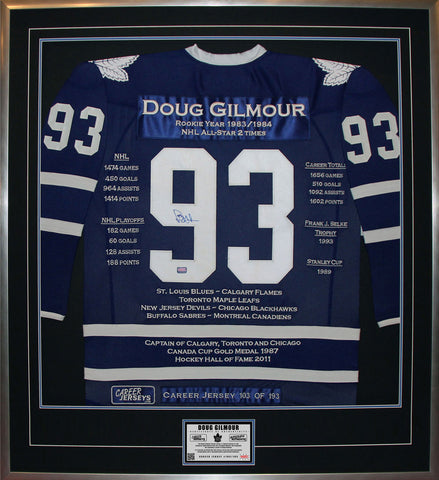 DOUG GILMOUR FRAMED CAREER JERSEY SIGNED - LTD ED 193 - TORONTO MAPLE LEAFS