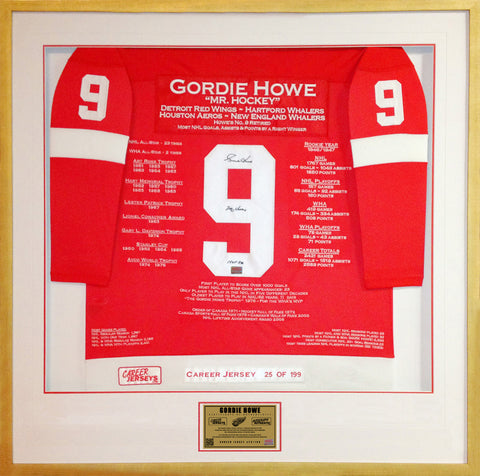 GORDIE HOWE FRAMED CAREER JERSEY AUTOGRAPHED - LTD ED 199 - DETROIT RED WINGS