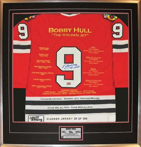 BOBBY HULL FRAMED RED CAREER JERSEY SIGNED - LTD ED 399 - CHICAGO BLACKHAWKS