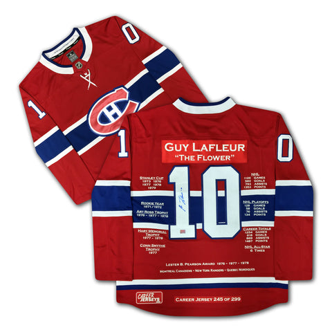GUY LAFLEUR CAREER JERSEY AUTOGRAPHED - LTD ED 299 - MONTREAL CANADIENS
