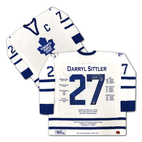 DARRYL SITTLER SIGNED ELITE EDITION CAREER JERSEY LTD ED /27 - MAPLE LEAFS