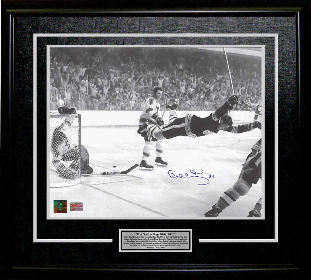 "Bobby Orr ""The Goal"" Signed 11X14 Framed Photo Boston Bruins, Boston Bruins, NHL, Hockey, Autographed, Signed, AACMH30191"