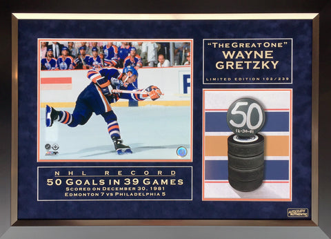 WAYNE GRETZKY NHL RECORD 50 GOALS IN 39 GAMES LTD ED OF 239 - EDMONTON OILERS