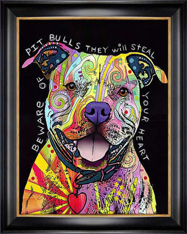 """BEWARE OF PITBULLS"" DOG ART GICLEE PRINT BY DEAN RUSSO FRAMED CANVAS"