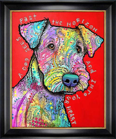 """DOG INTO YOUR HEART"" TEXTURED GICLEE PRINT BY DEAN RUSSO"
