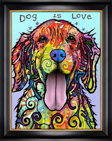 """DOG IS LOVE"" TEXTURED GICLEE PRINT BY DEAN RUSSO"