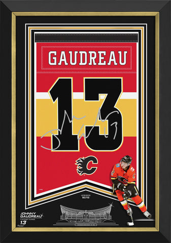 JOHNNY GAUDREA FRAMED ARENA BANNER LTD ED CALGARY FLAMES, FACSIMILE SIGNED