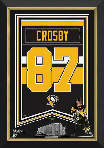 SIDNEY CROSBY FRAMED ARENA BANNER LTD ED 1/87 PITTSBURGH PENGUINS