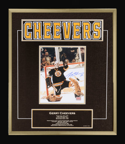 GERRY CHEEVERS CAREER COLLECTIBLE NAMEBAR - MUSEUM FRAMED - LTD ED OF 130