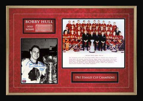 AUTOGRAPHED BOBBY HULL 1961 STANLEY CUP DOUBLE PHOTO - LIMITED EDITION OF 61