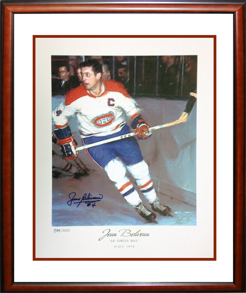 Autographed Jean Beliveau Lithograph Limited Edition Of 600, Montreal Canadiens, NHL, Hockey, Autographed, Signed, AACMH30186