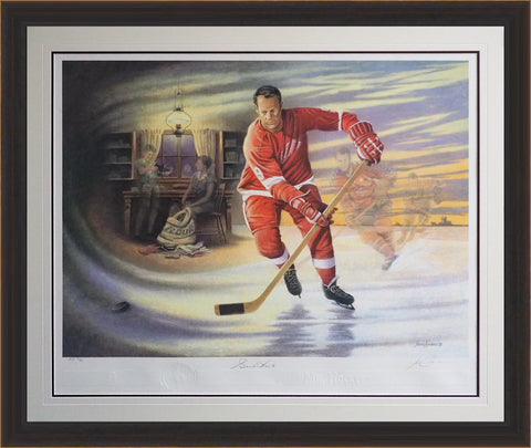 AUTOGRAPHED GORDIE HOWE LITHOGRAPH LTD. ED. /42 OF 99 - DETROIT RED WINGS